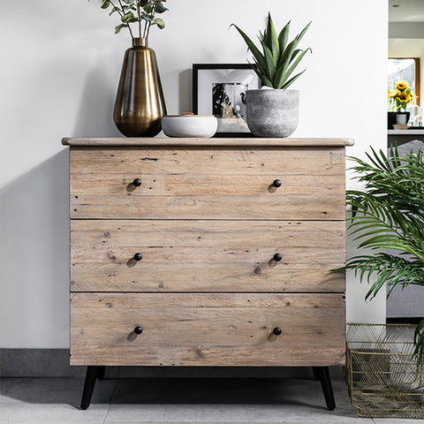 Reclaimed wooden chest of drawers with green plant
