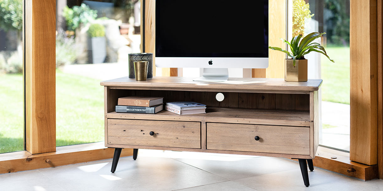 Large Chelwood TV Stand made with Solid Reclaimed Wood