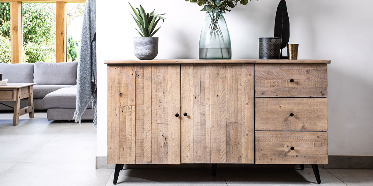 Chelwood reclaimed wood sideboard