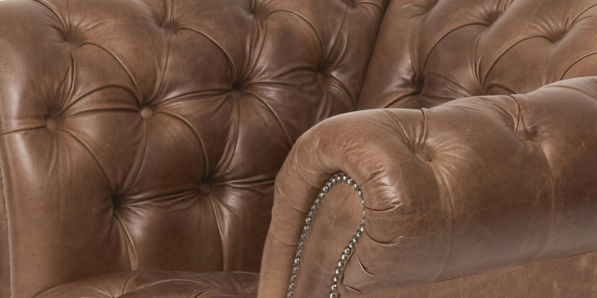 Chester Club Leather Armchair Close up