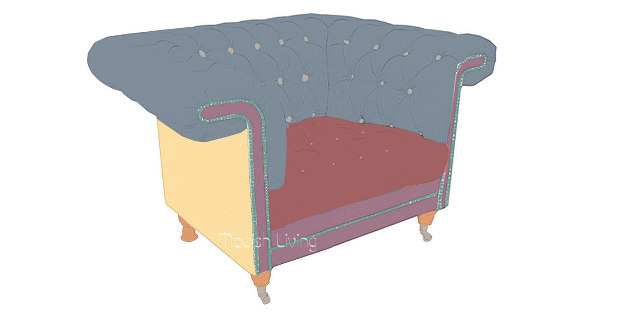 Chester Lounge Club Armchair Bespoke Diagram