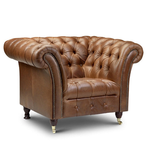 Chesterfield brown leather armchair for reception