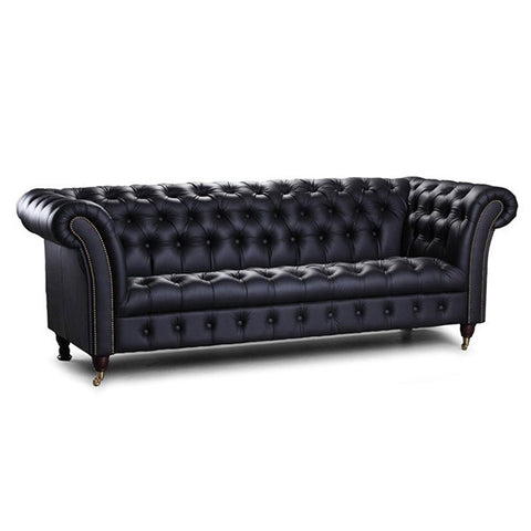 Chester Club Black Cerato Leather Sofa for Living Room