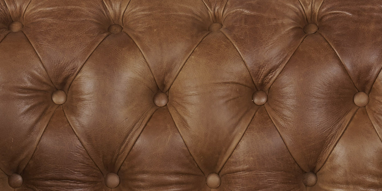 Brown Cerato Leather Sofa Back detail