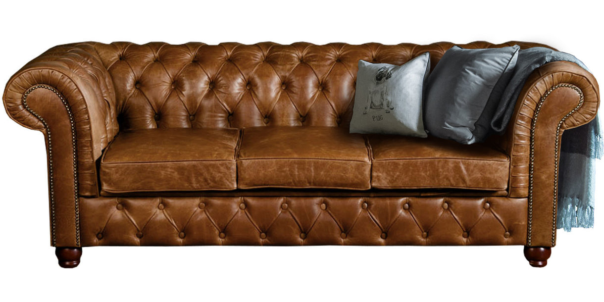 Brown Cerato Leather Sofa