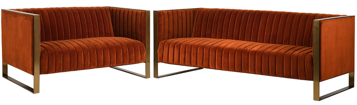 Burnt orange Chestey 3 Seater Velvet Sofa with 2 Seater Sofa