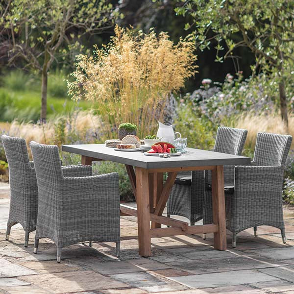 Chilson Dining Table and Rattan Dining Chairs