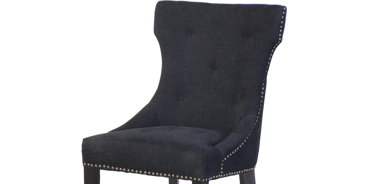 Christina Studded Black Fabric Dining Chair close up