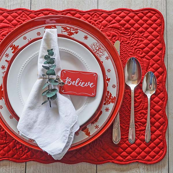 Christmas Table with Red Table Mat