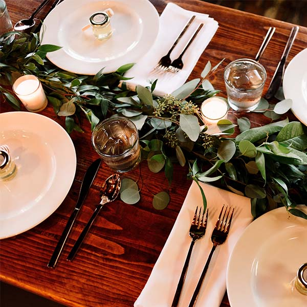 Christmas Dining Table with White Plates