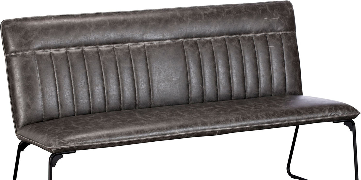 Cleo Faux Leather Industrial Dining Bench Grey