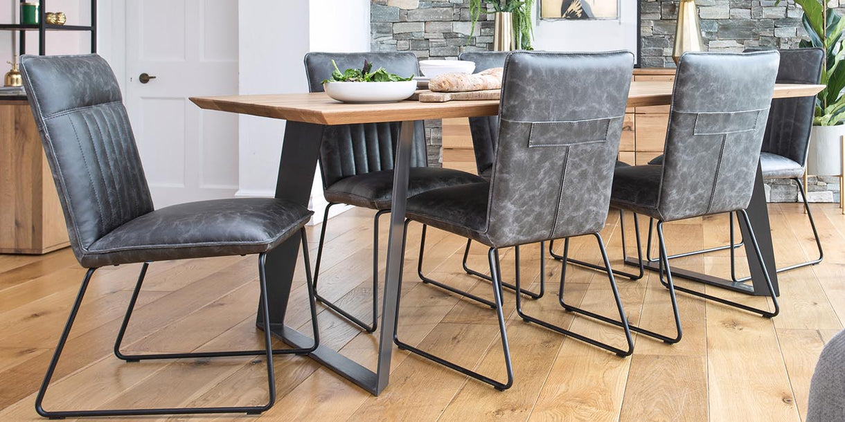 Cleo Grey PU Leather Industrial Dining Chairs