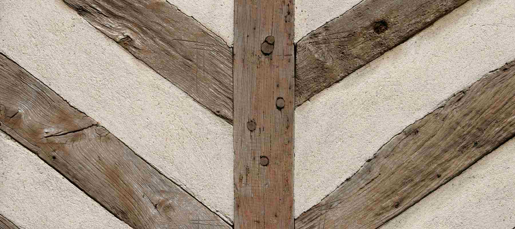 Close up of wooden beams