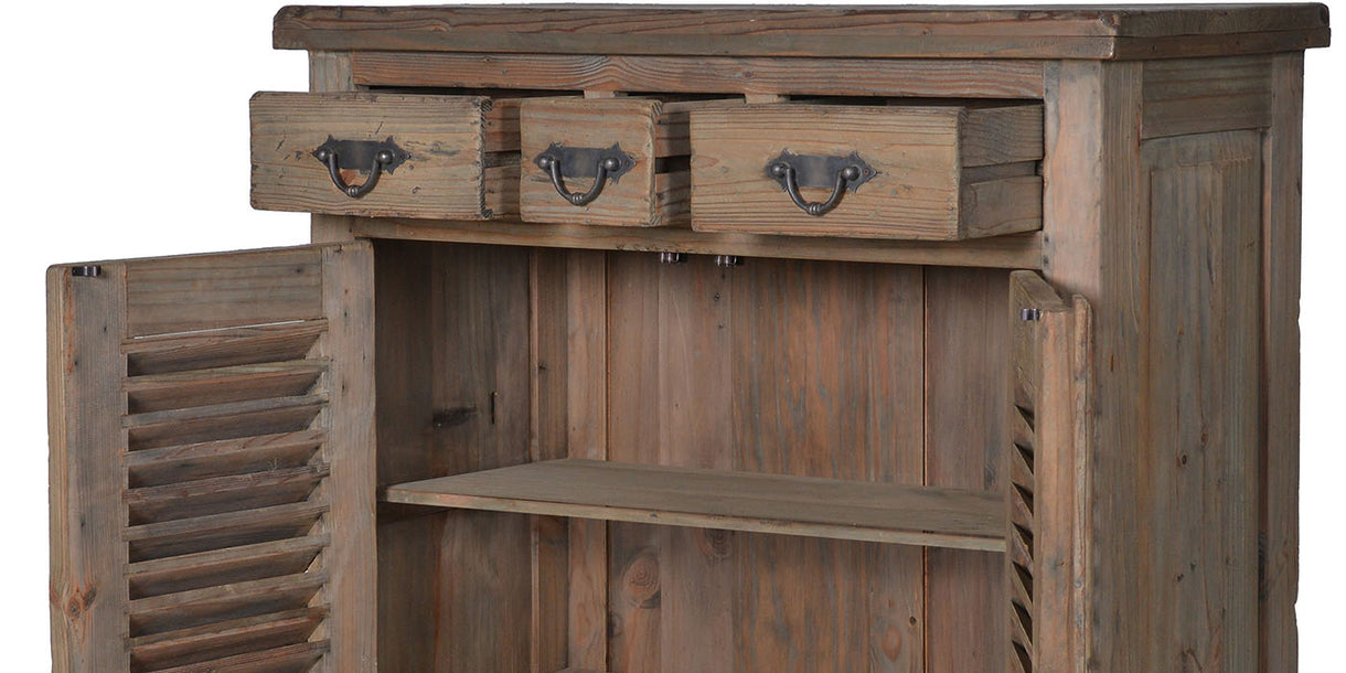 Colette Reclaimed Wood Louvred Cupboard