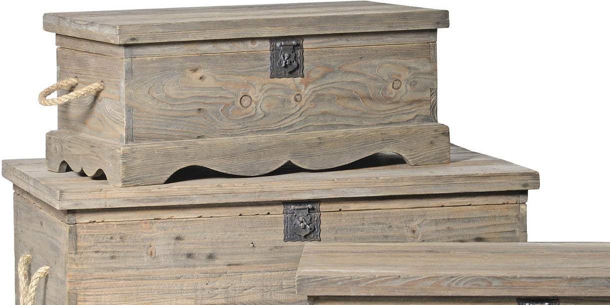 Colette Set of 3 Reclaimed Wood Blanket Boxes