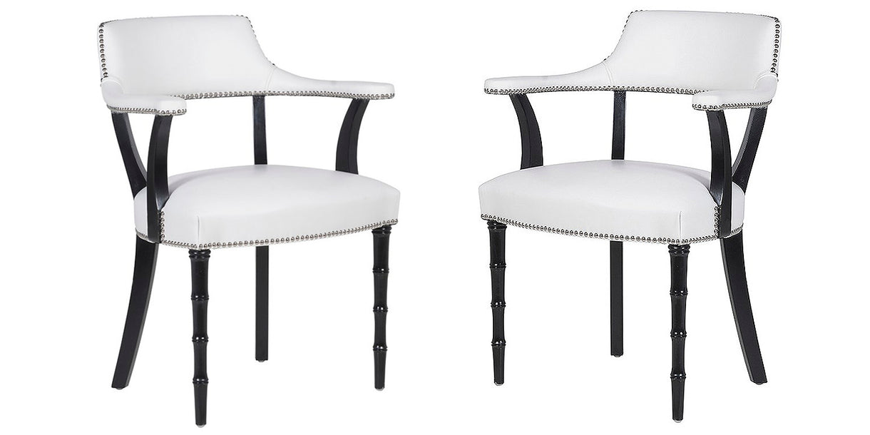 Colette White Leather Dining Chairs