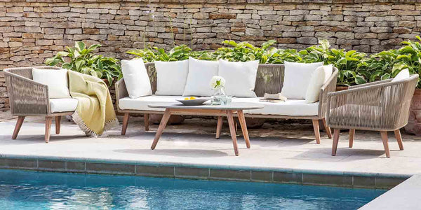 Colwell Sofa Set with Armchairs and Coffee Table in Garden