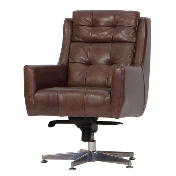 Brown Leather Desk Chair with Armrests