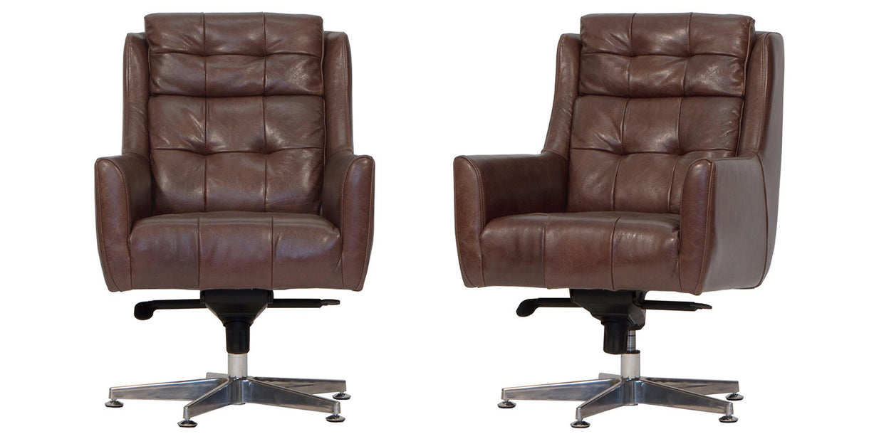 Commander Brown Leather Office Chairs