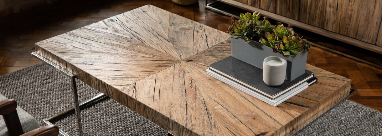 A slanted aerial view of the Knightsbridge Reclaimed Oak Coffee Table, highlighting the details in the reclaimed tabletop