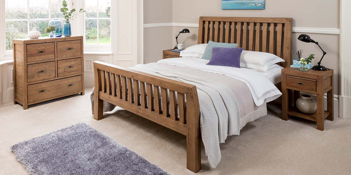 Cotswold Reclaimed Wood Bed in Bedroom