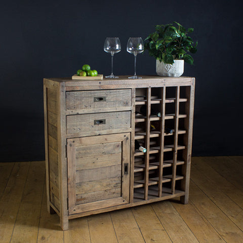 Cotswold Reclaimed Wood Wine Rack Sideboard for Dining Room