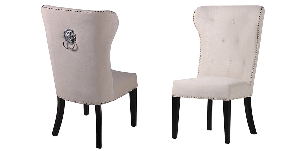 Cream Dining Chairs With Lion Knocker
