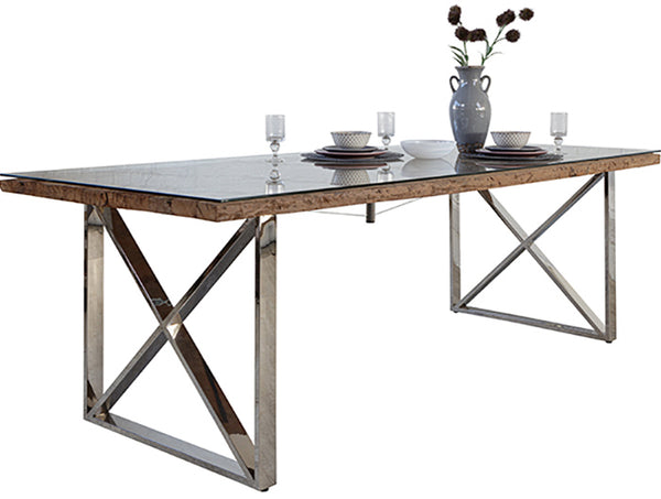 Reclaimed wood dining table with glass top and silver cross legs