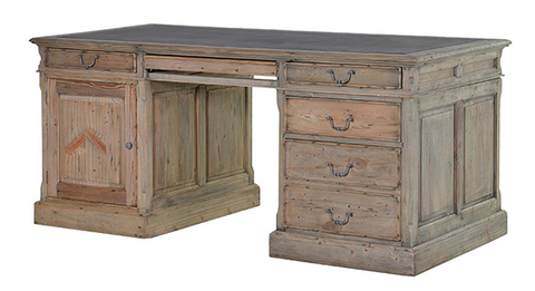 Sturdy reclaimed wooden desk with drawers
