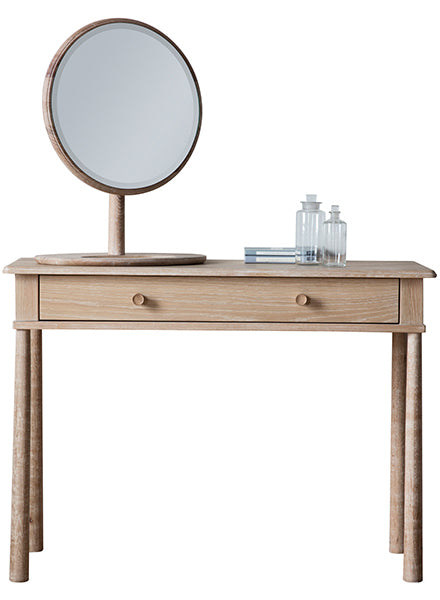 A Scandi wooden dressing table in light oak with a round table mirror
