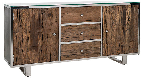 Textured wooden sideboard with silver steel details
