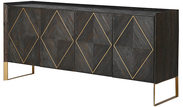 Reclaimed wood sideboard in a dark grey finish with a gold geometric pattern and gold steel legs