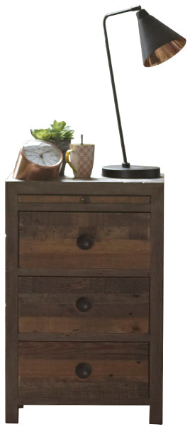 Dark narrow wooden bedside table with round handles and a table lamp