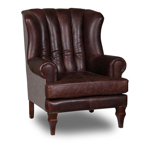 Cropwell Bartello Brown Leather Jasper Wool Chair