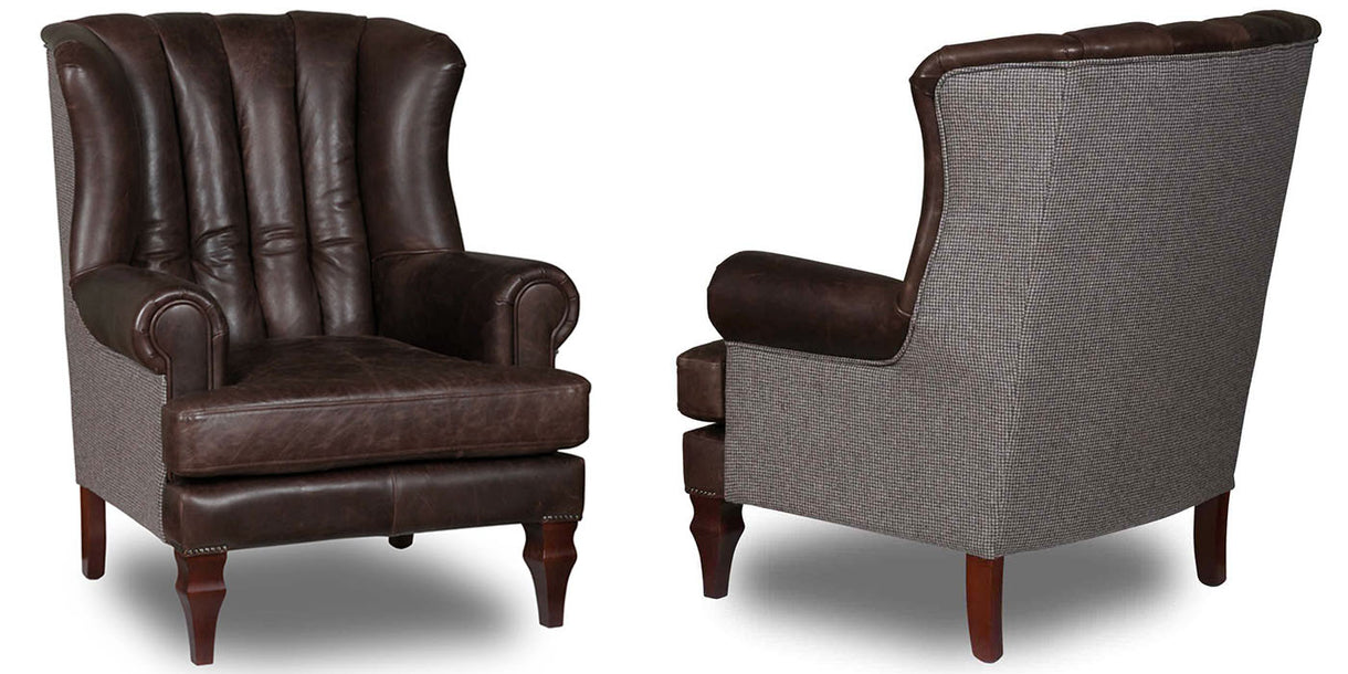 Cropwell Bartello Leather Jasper Wool Armchairs