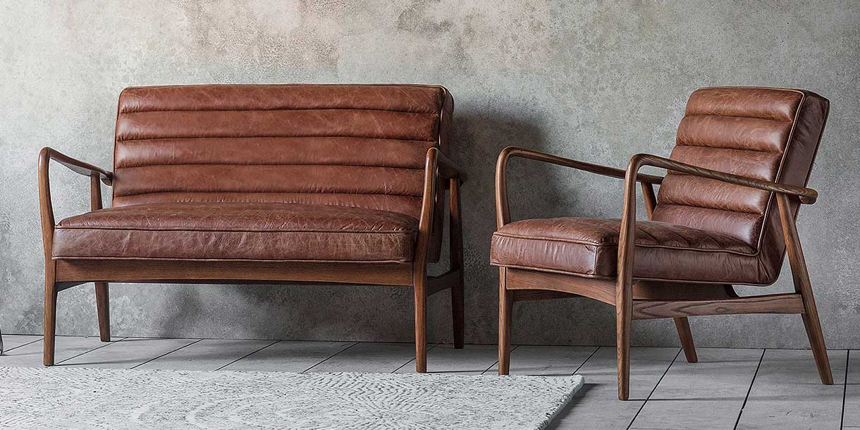 Dagmar Brown Leather Armchair and Sofa