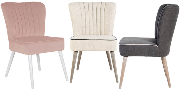 Pink Velvet Dining Chair and Cream Dining Chair and Grey Dining Chair