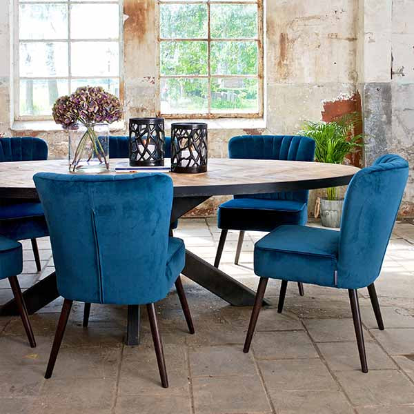 Luxe Daley Upholstered Dining Chair in Blue Velvet