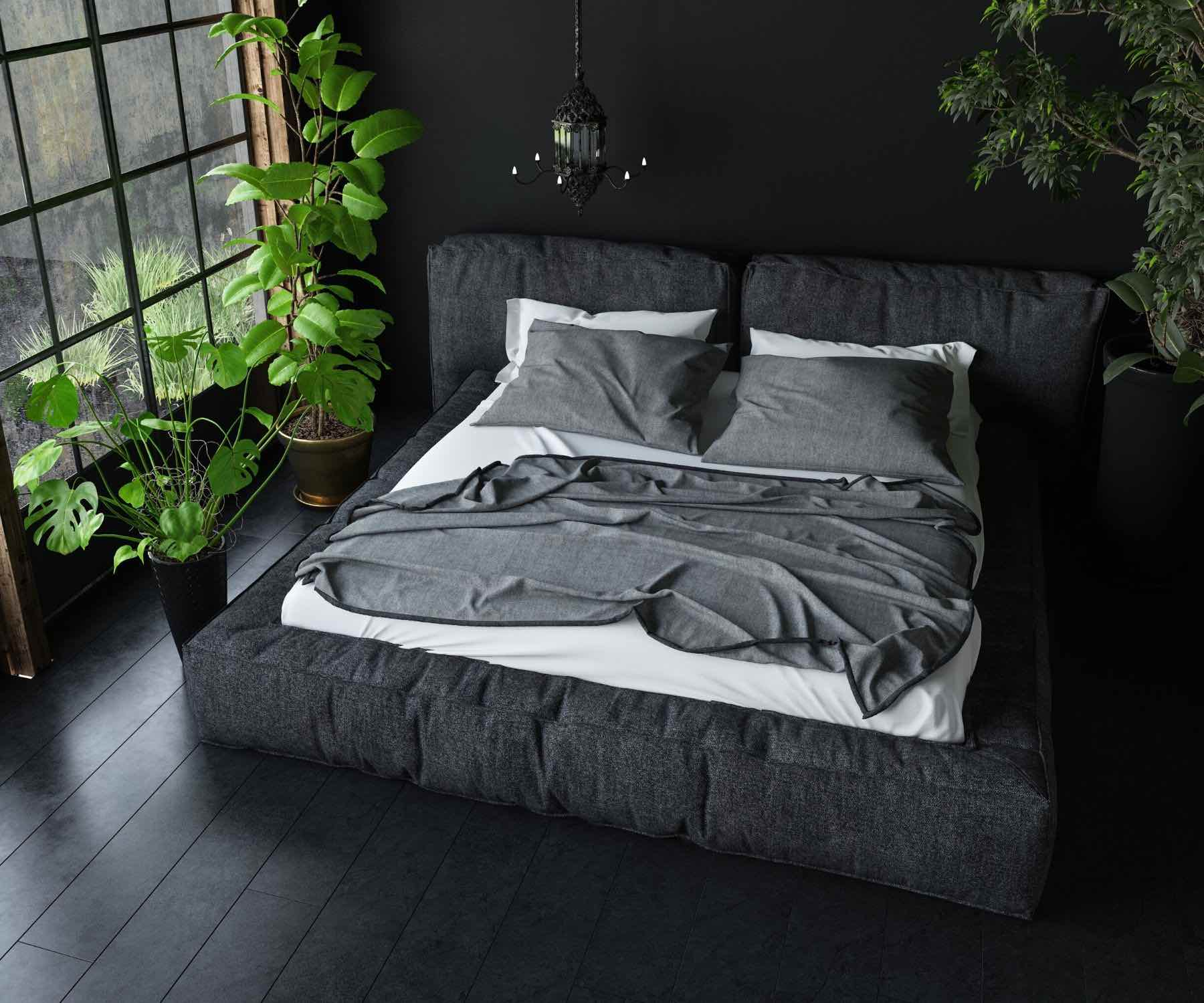 Dark bedding in dark bedroom
