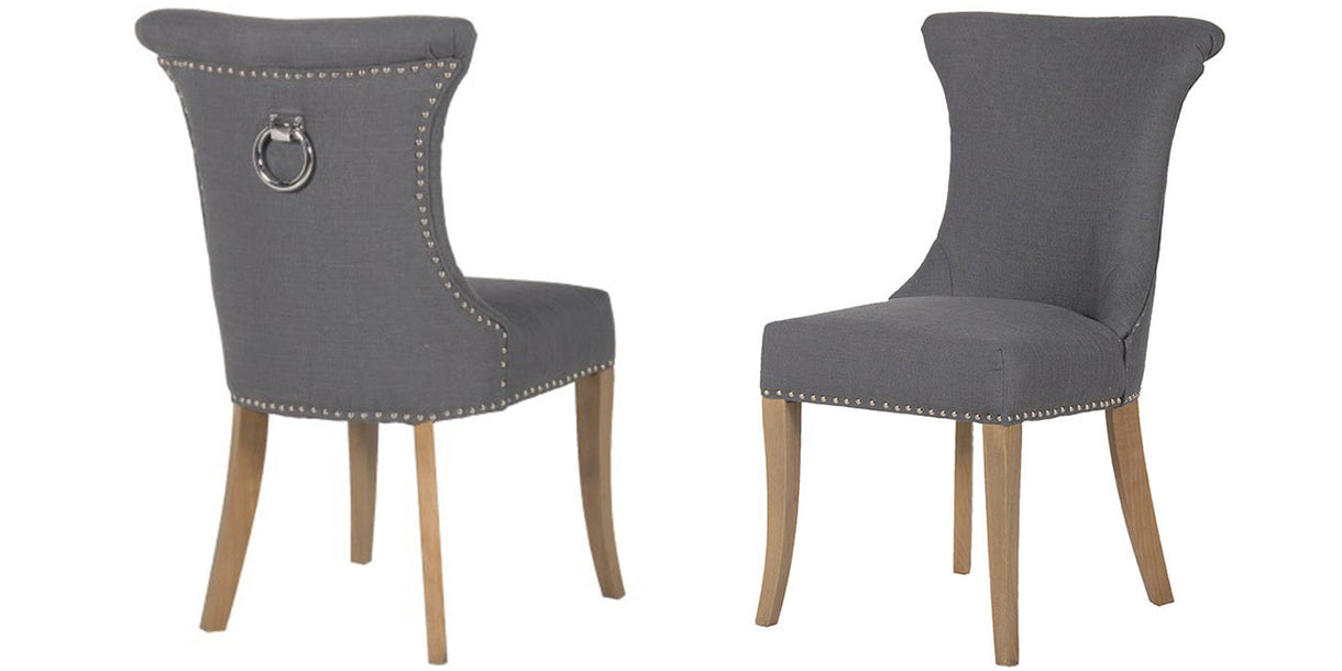 Dark Grey Studded Dining Chair With Back Ring