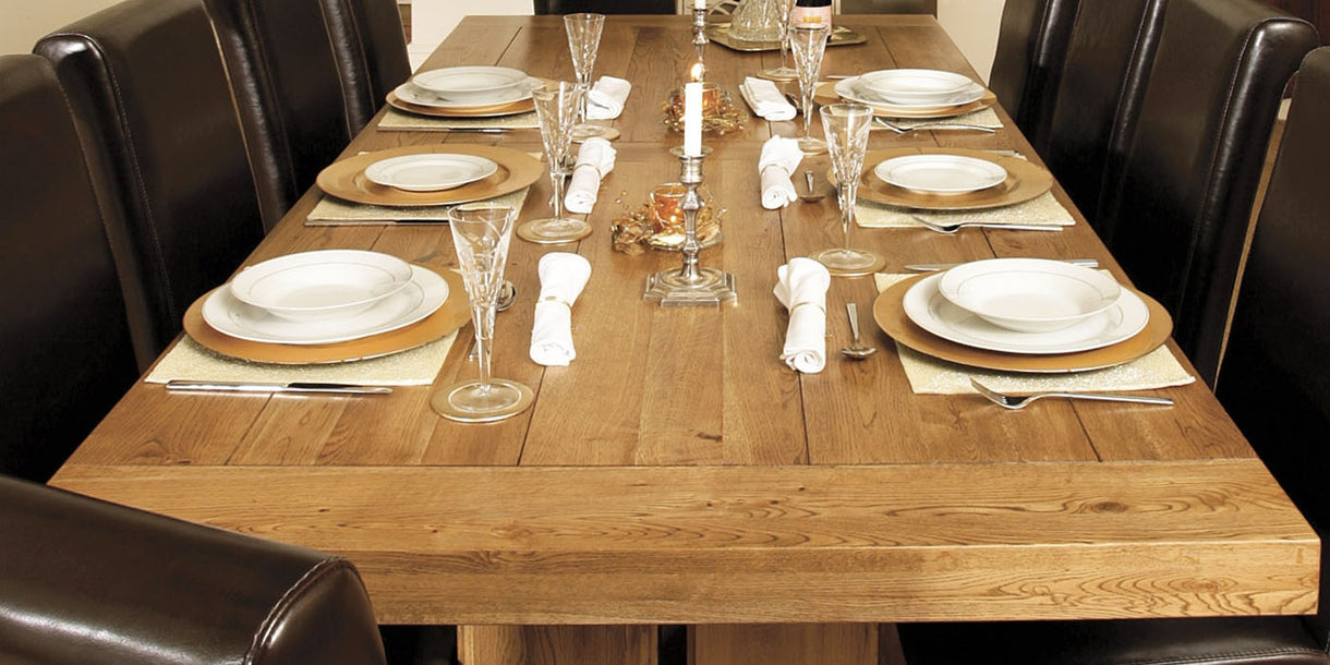 Darwin Grand Oak Extending Trestle Table and Chairs