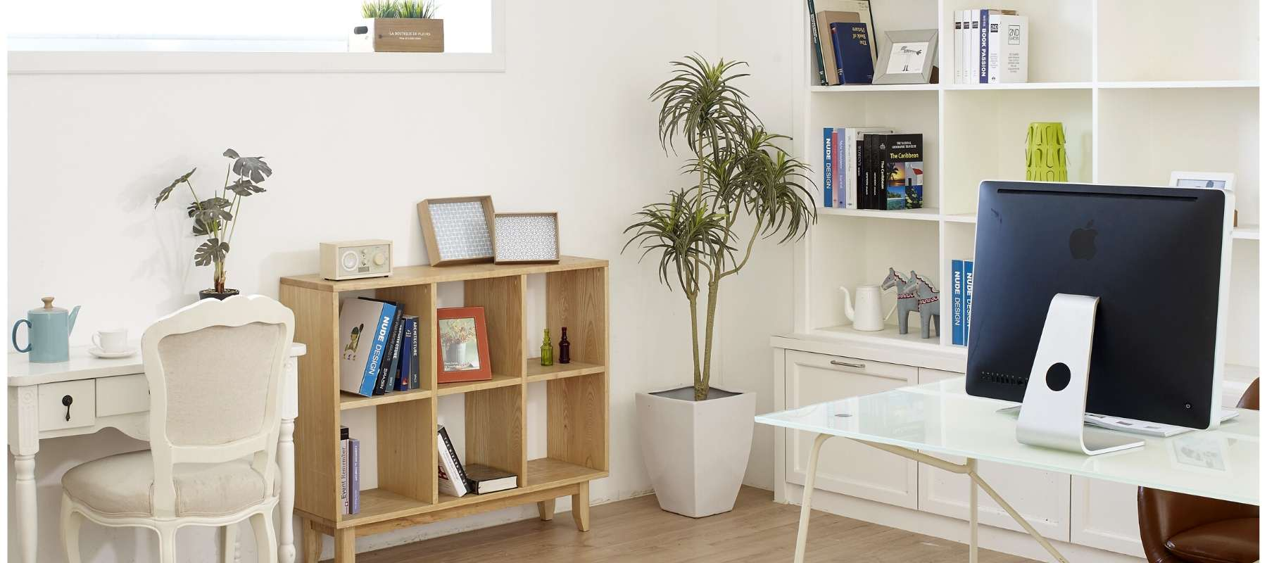 Home office with wooden storage unit