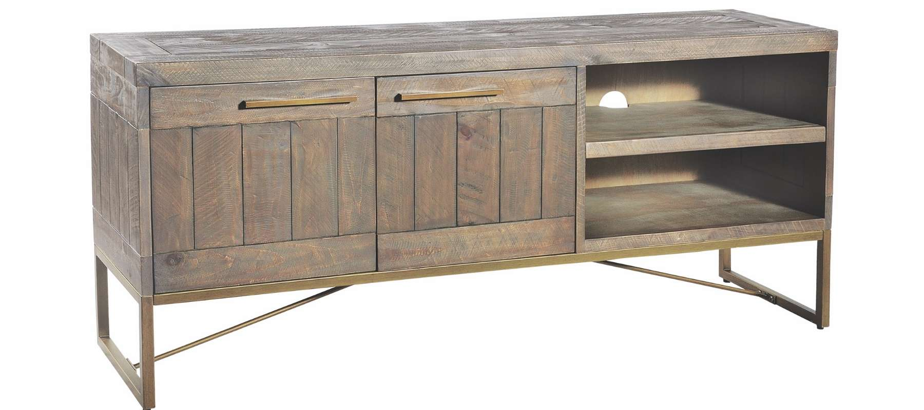 Tavistock Industrial Coffee table with shelves and cupboards