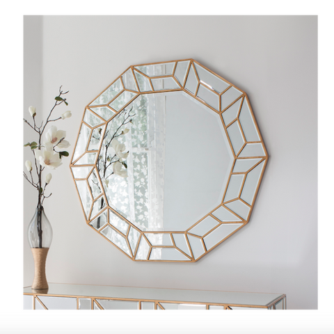 Deco Wall Mirror with brass finished frame