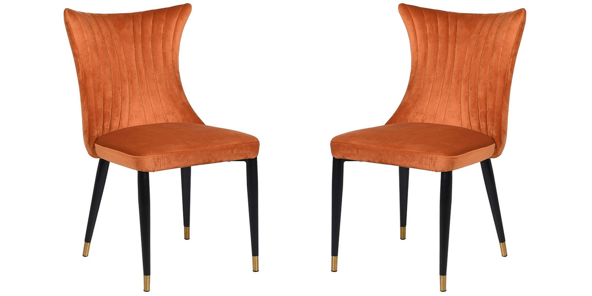 Pair of Orange Velvet Dining Chairs with Black Legs and Gold Detail