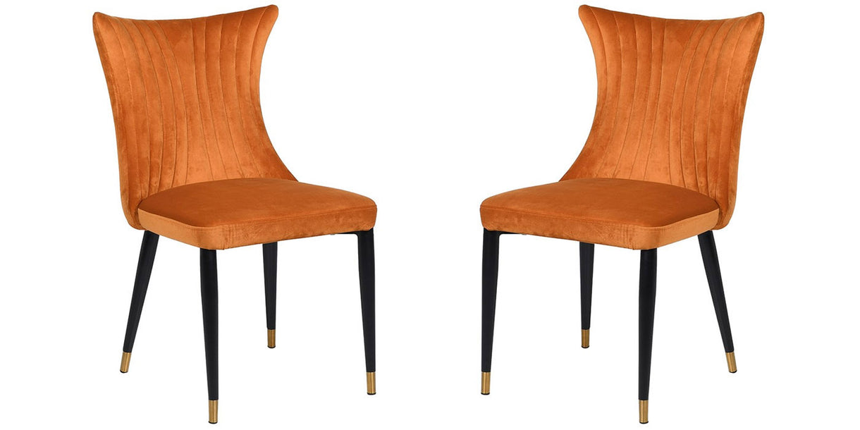 Deep Orange Velvet Dining Chairs