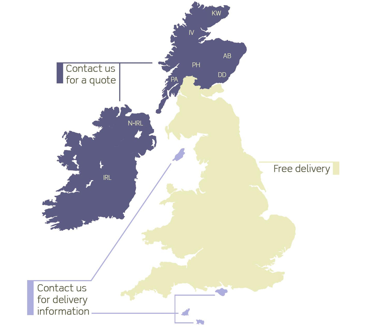 Delivery Costs Map at Modish Living