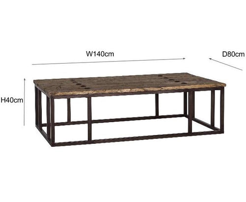 Luxe Elm Industrial Reclaimed Wood Large Coffee Table Dimensions