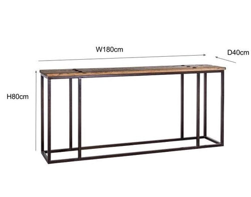 Dimensions Luxe Elm Industrial Reclaimed Wood Console Table