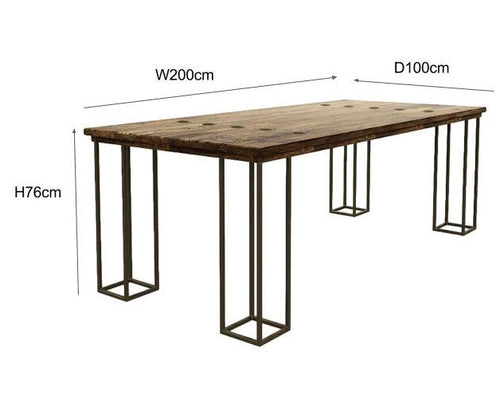 Luxe Elm Industrial Reclaimed Wood Dining Table Dimensions